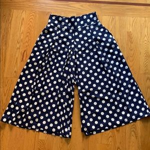 True vintage navy blue polka dot culotte wide leg